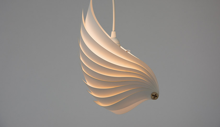 Flatpack luminaire, assembled from sheet-stock materials, by Jared Long (Auburn)