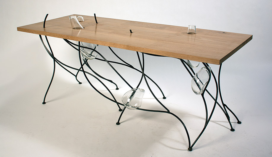 Lucas Martin's Sweep table, inspired by Japanese rock gardens