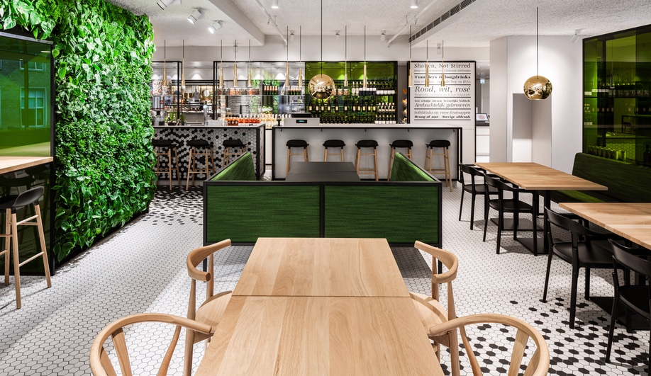 i29 Interior Architects Covers a Restaurant in Hexagon Tiles