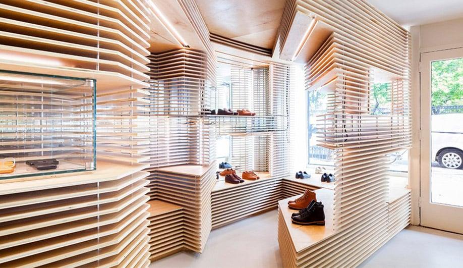 Wood interiors: Feit shoe store