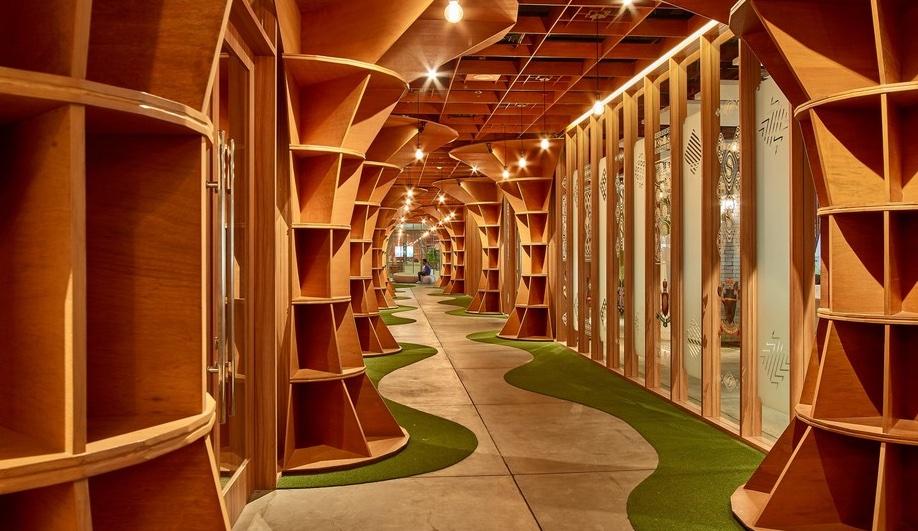 Wood interiors: Parabolic office