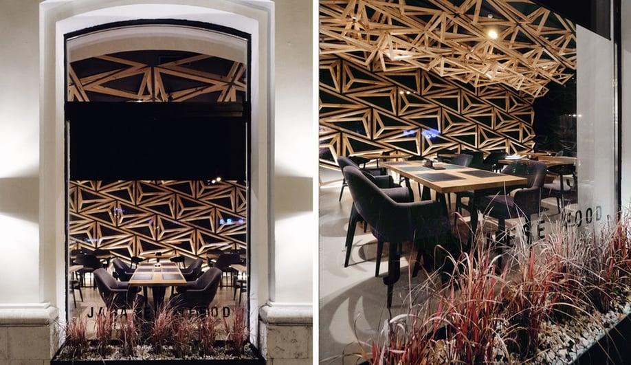Wood interiors: Kido sushi bar