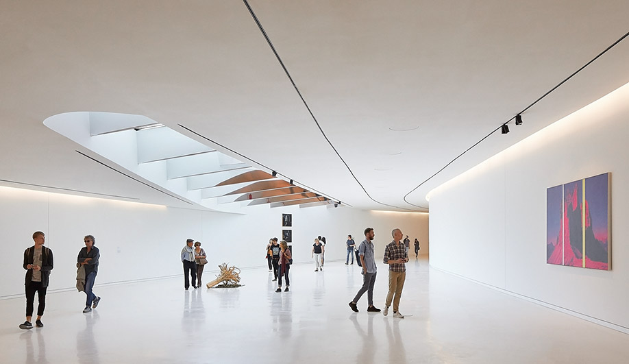 The subterranean galleries are characteristically all-white, from floor to ceiling.