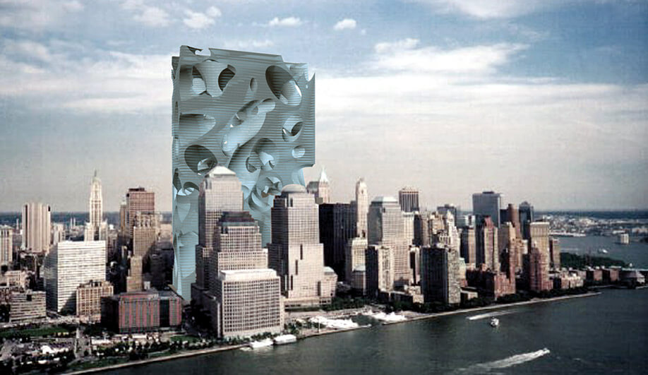 "For the new World Trade Center, Acconci proposed a 110-storey tower full of holes – a Swiss cheese–like structure that was ""pre-shot, pre-blown-out, pre-exploded."""