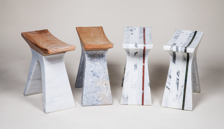 The Pigreco sculptural stools, for Henraux and Riva1920, are in Versylis marble with cedar seats.