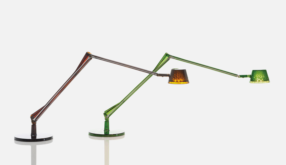 Shown as prototypes in 2016, the Aledin lamps for Kartell launch as a product at Euroluce this year.