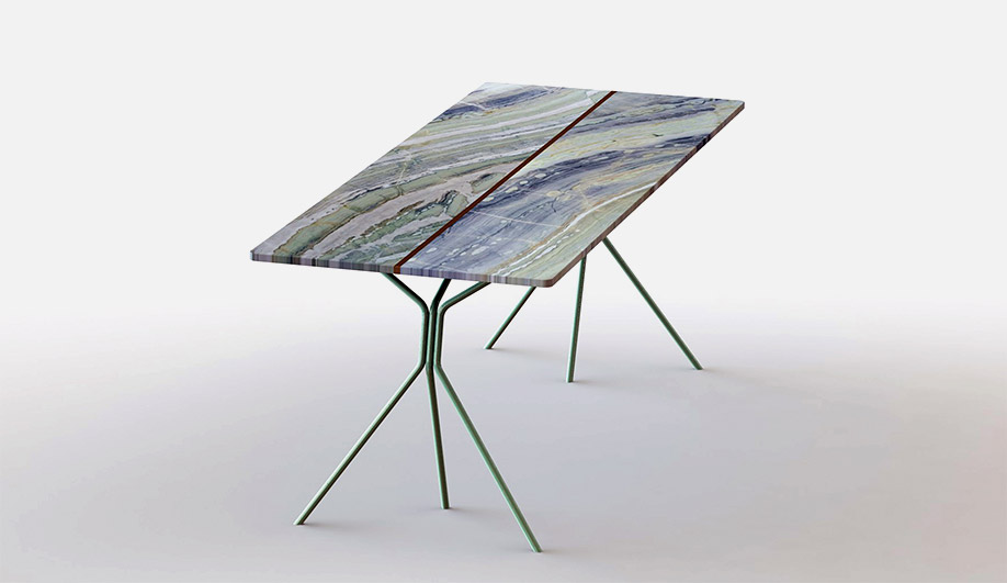 Made from two slabs of marble, the Split table debuted in a green marble version at Rossana Orlandi in 2016.
