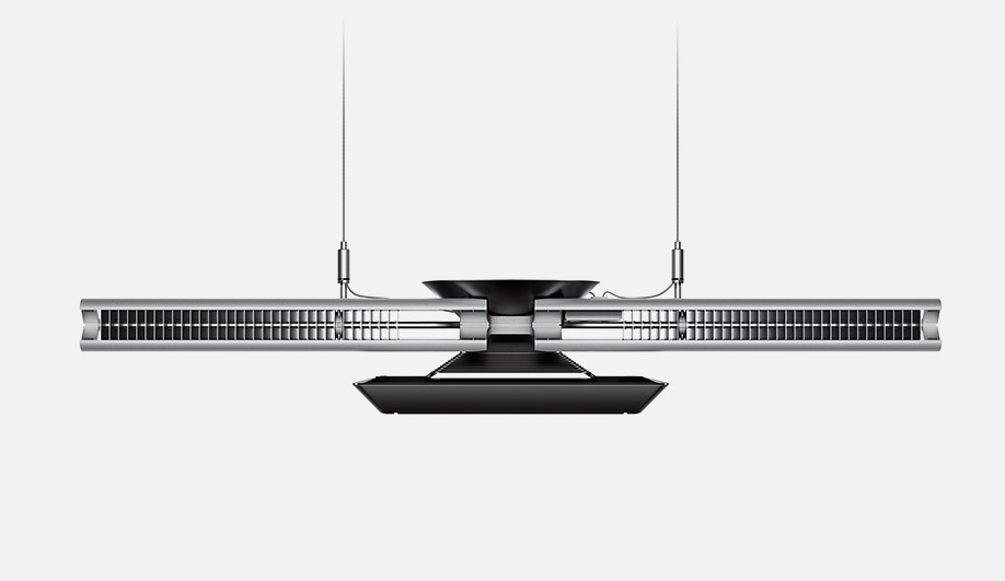 The pendant is embedded with a water-and-copper-tube cooling system that extends the life and increases the efficacy of the LEDs.