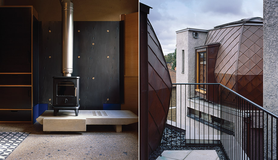 LEFT: The kitchen in House A features a concrete hearth, wood-burning stove and black steel fireback. RIGHT: Inspired by the tops of 16th-century country houses, the polygonal yurts are made of cold-moulded timber and lined with copper sheeting.
