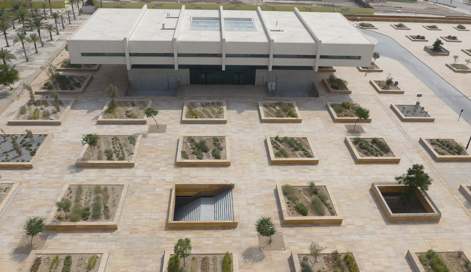 A grid of planters filled with native desert foliage surrounds Qatar National Library, which is slated to open later this year.