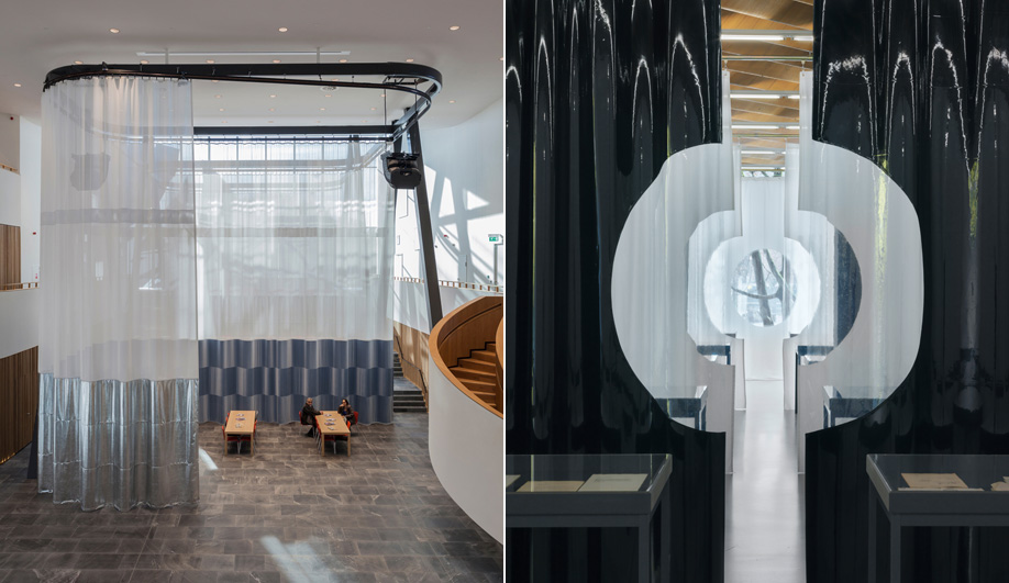 Left: Velour, faux leather, PVC mesh and transparent plastic are some of the materials used for a series of six dividing curtains installed inside a commercial bank in the Netherlands. Right: Seven layers of curtains, two of which are made of black PVC, are installed as part of an exhibition space at ETH Zurich.