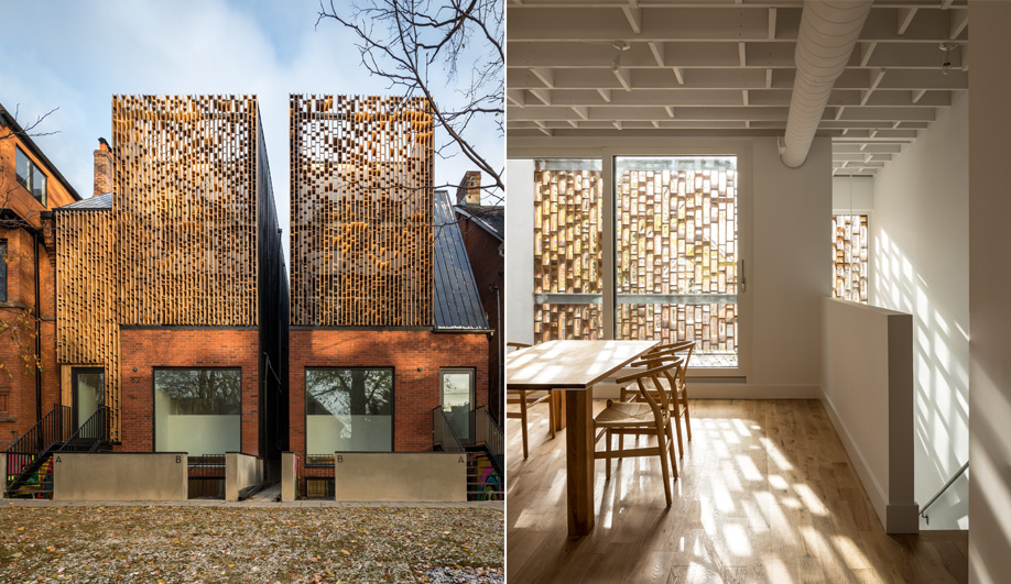Inside, the screens create patterns of light and shadow. The geometry is echoed by the exposed floor joists. Though treated, the pine screens will weather over time and take on texture.
