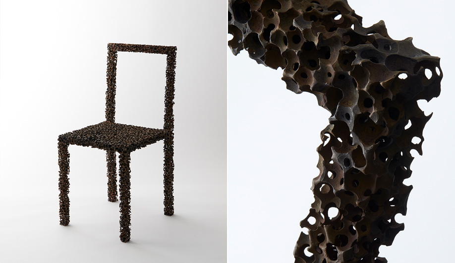 The Drought chair by Tokyo's we+ is made by mixing resin balls with the wax medium, and pouring it into a bronze mould. It was launched in Italy during Milan Design Week this past April.