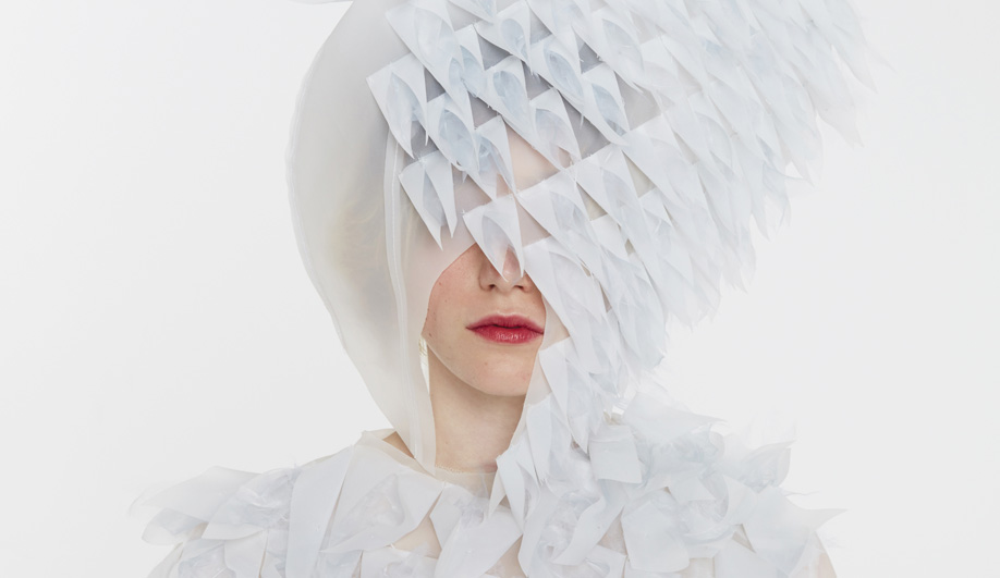 Ying Gao's hooded dress reacts via a facial recognition system.