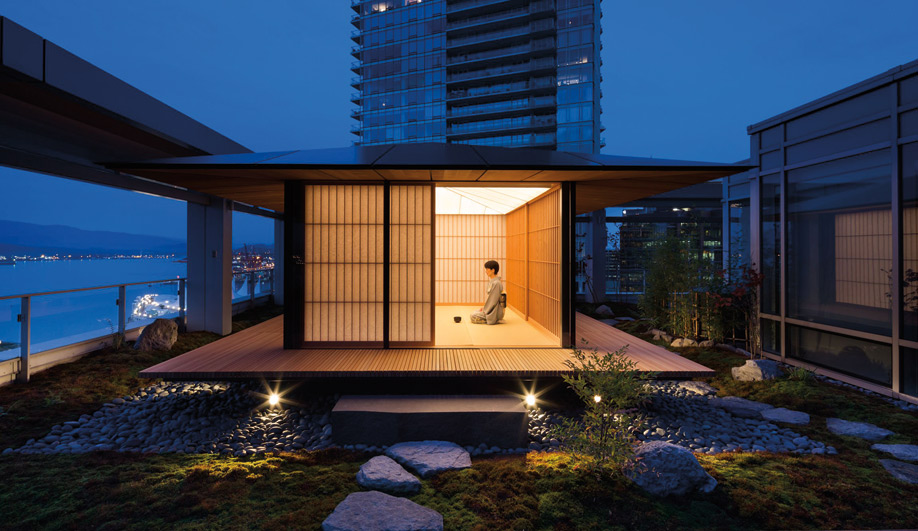 Kengo Kuma's teahouse at Shaw Tower in Vancouver