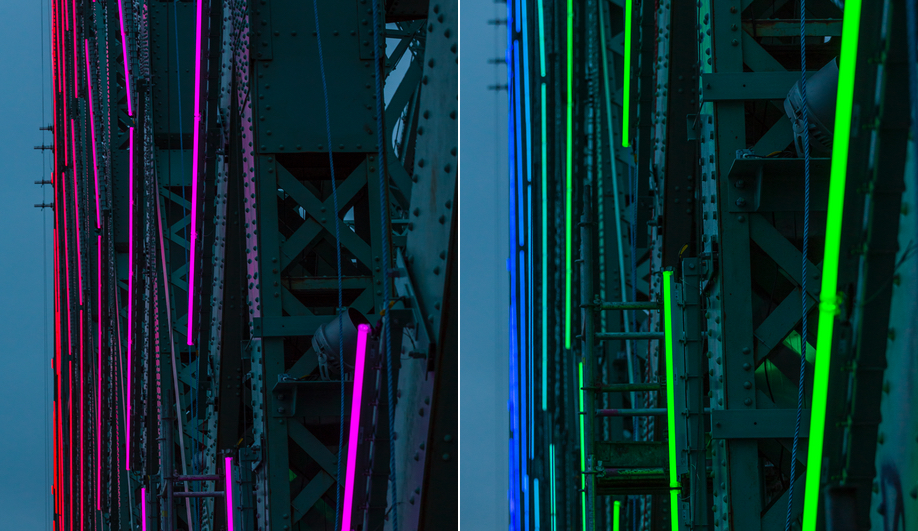 Moment Factory added interactive lights to Montreal's Jacques Cartier Bridge.