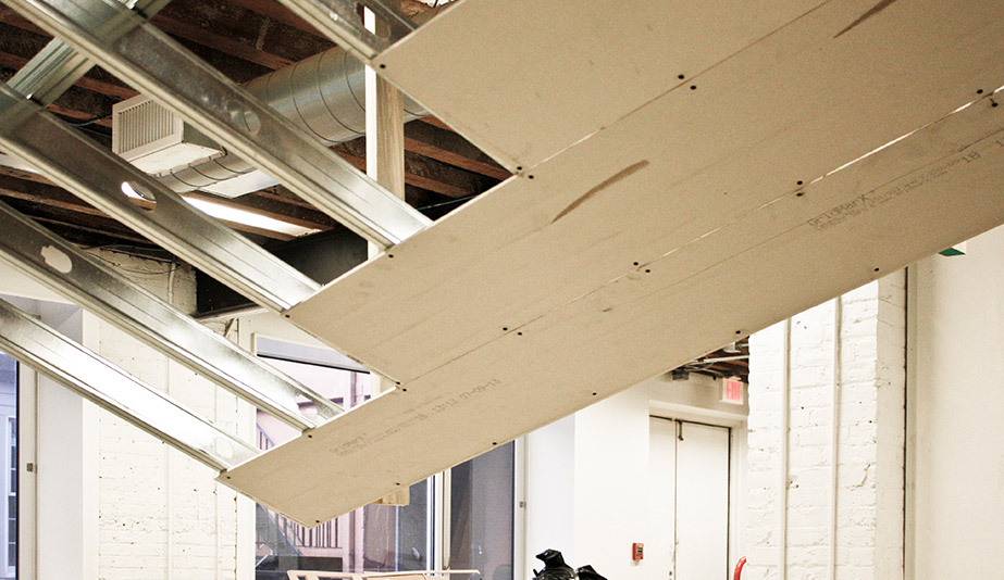 NADAAA constructed a metal frame while mocking up the ceieling at the University of Toronto's John H. Daniels Faculty of Architecture, Landscape and Design.