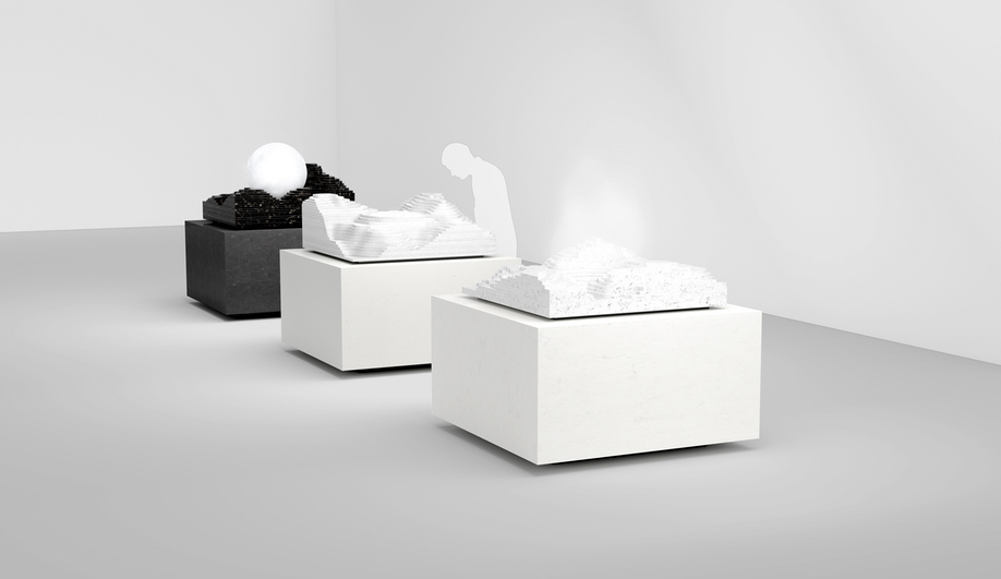 From left: Snarkitecture's Ice, Water and Steam Islands
