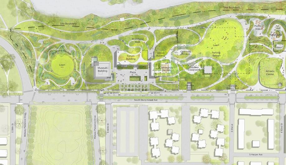 The Obama Presidential Center plaza site map