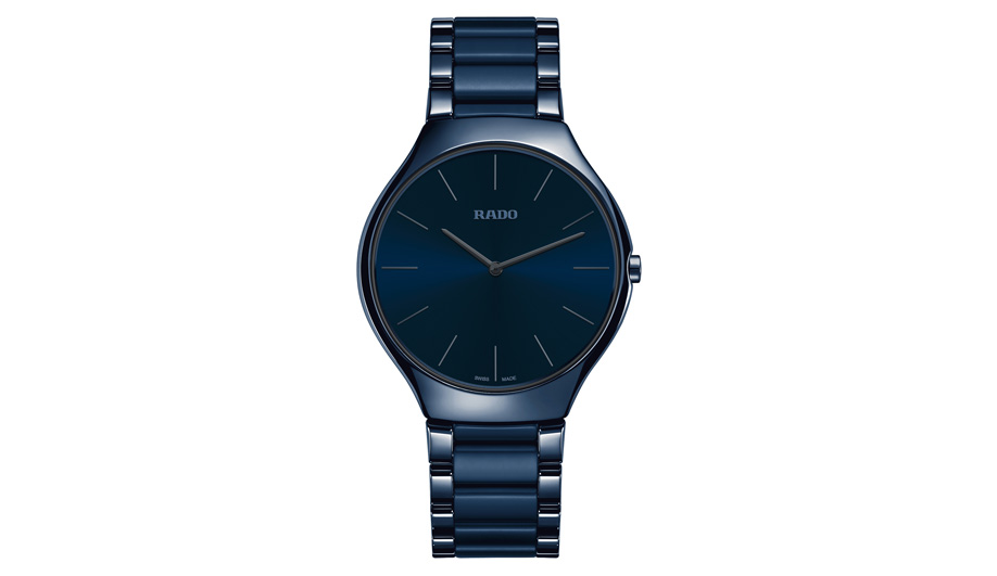 Rado's True Thinline collection has a watch that comes in an inky blue.