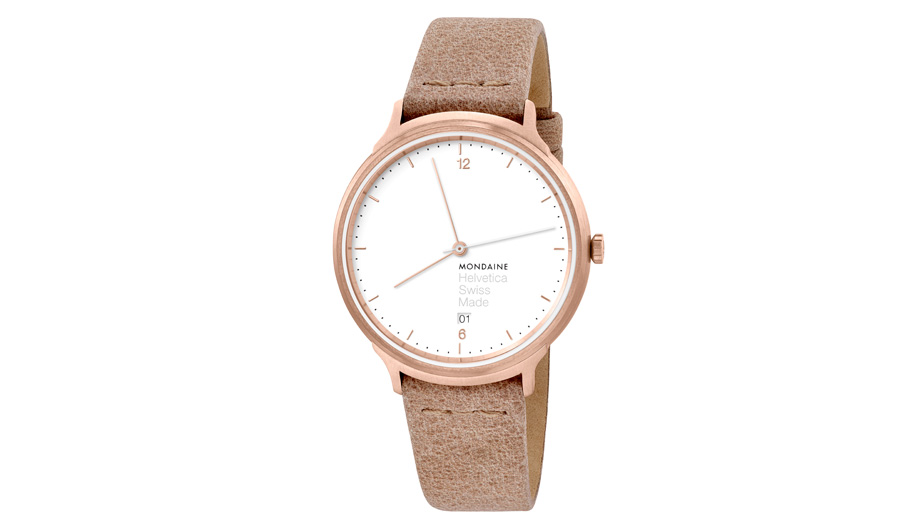 Mondaine has updated its Helvetica No1 in a rose gold colourway.