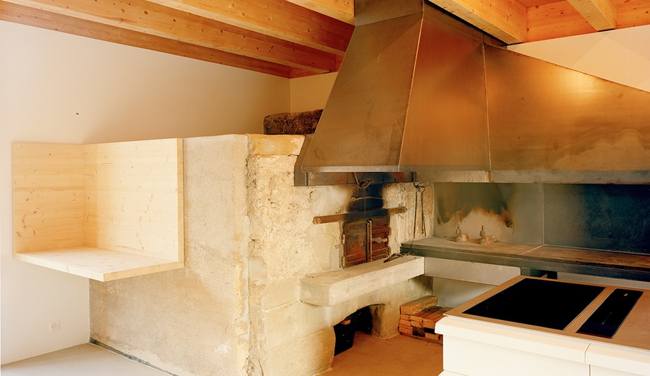 Inside the press house in the Dieter Dietz vineyard restoration