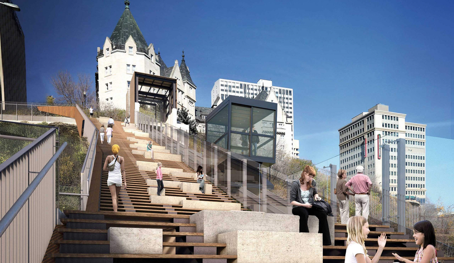 A render of the Edmonton Funicular at 100 Street.