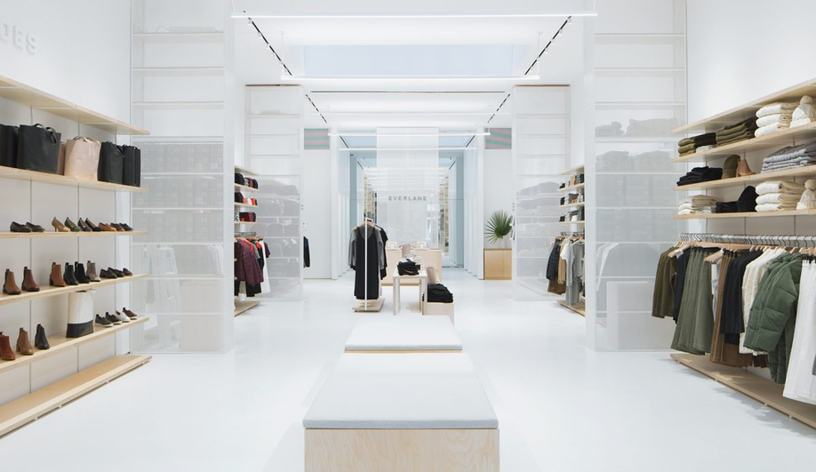 The Everlane flagship is defined by four display units.