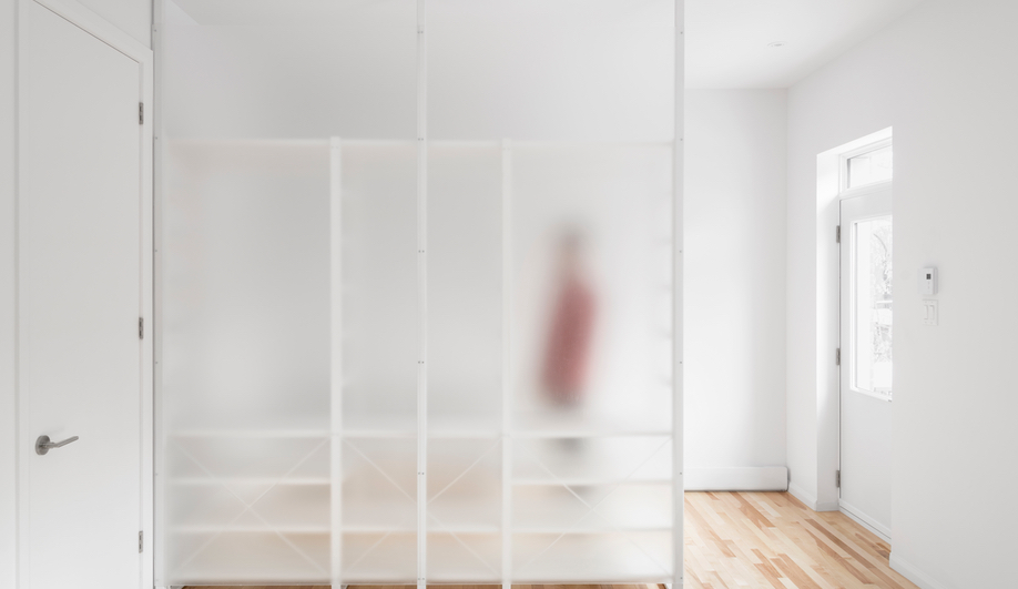 A frosted glass partition separates a walk-in closet from the master bedroom.