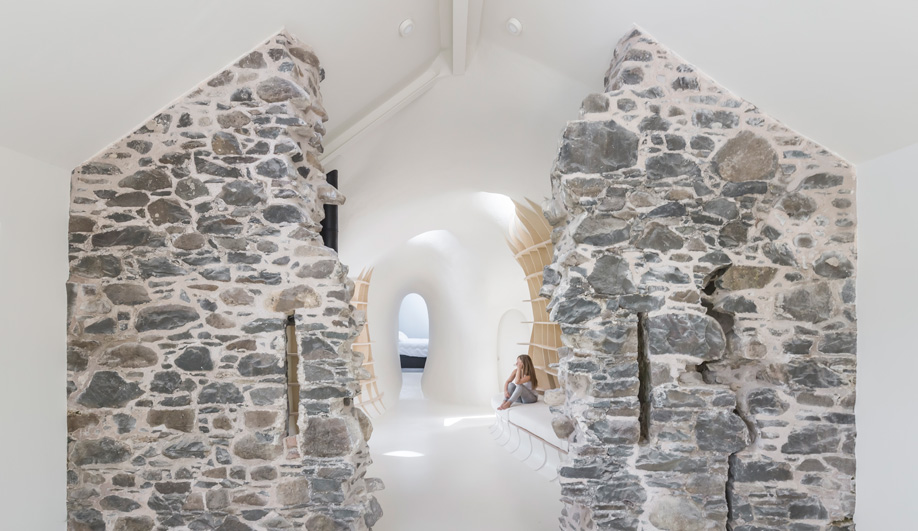 ruins studio is a home embedded in the stony remains of a scottish