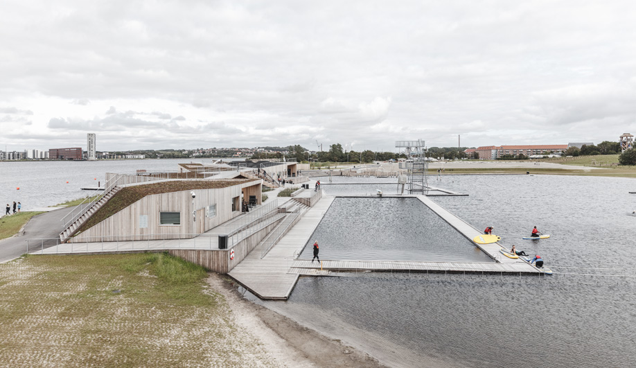 This Aalborg swimming pool serves swimmers and kayakers.