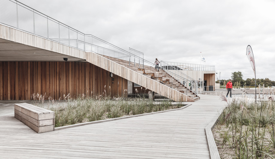 This Aalborg swimming pool features deck made of untreated tali.