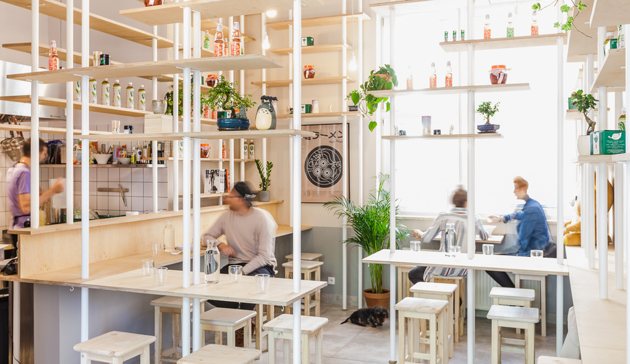 Warsaw's Vegan Ramen Shop is an Architect's Vision of a Bamboo Forest