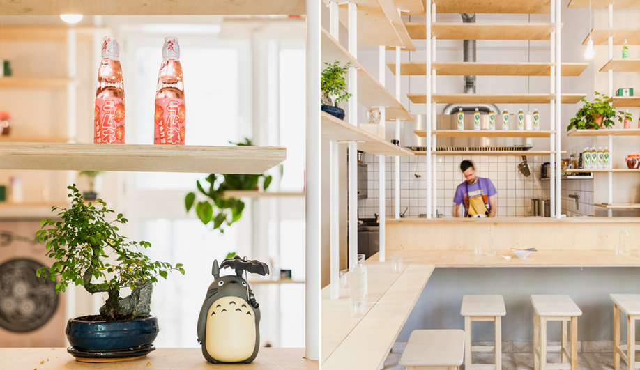 Warsaw's Vegan Ramen Shop is defined by its floating shelves, used for dining and display.