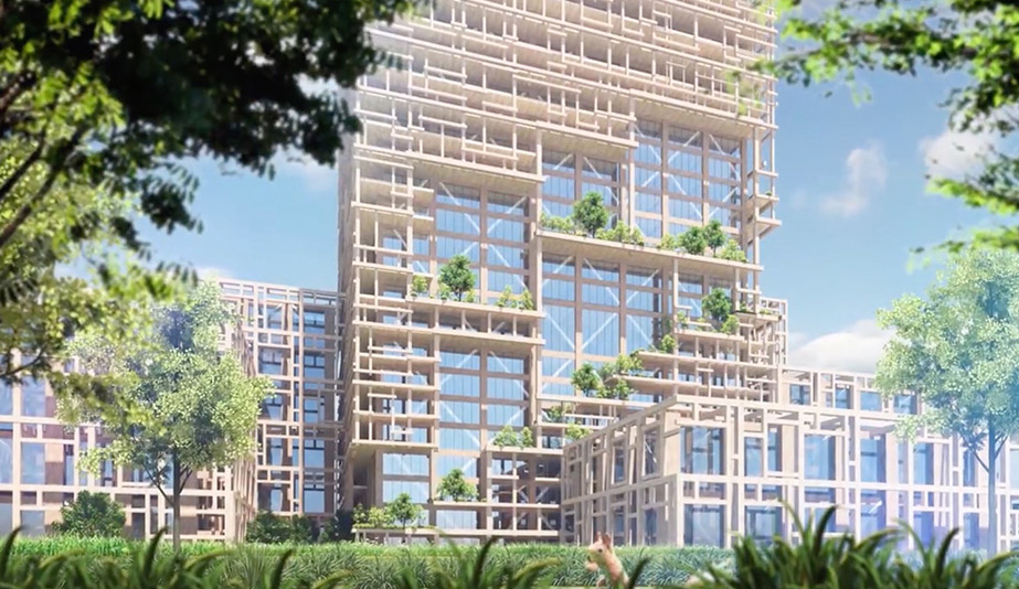 Rise of the green skyscraper: the W350 timber tower, by Sumitomo Forestry, is a plyscraper in Tokyo.