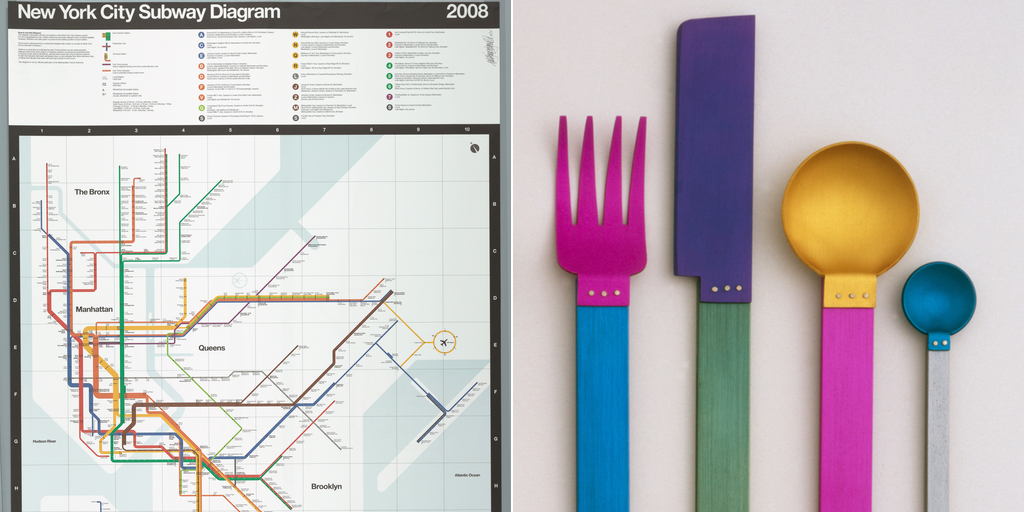 Massimo Vignelli, Beatriz Cifuentes and Yoshiki Waterhouse, New York City Subway Map (2008). Right: David Tisdale, Picnic Flatware Place Setting (1986)