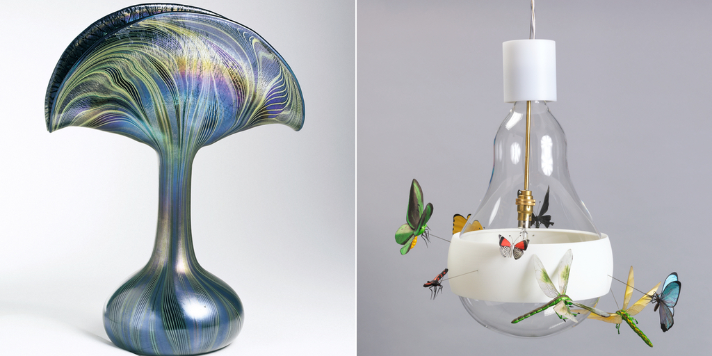 Saturated: The Allure and Science of Color: Tiffany and Co., Peacock Vase Vase (1901) and J.B. Schmetterling, (Butterfly) Hanging Lamp, (2011).