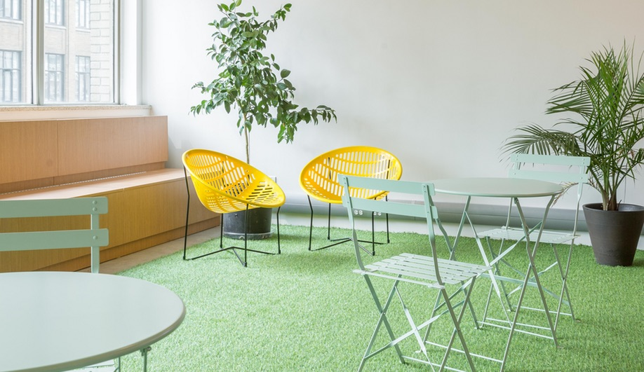 Make Lemonade, Toronto's coworking space for women, employs potted plants and Astroturf.