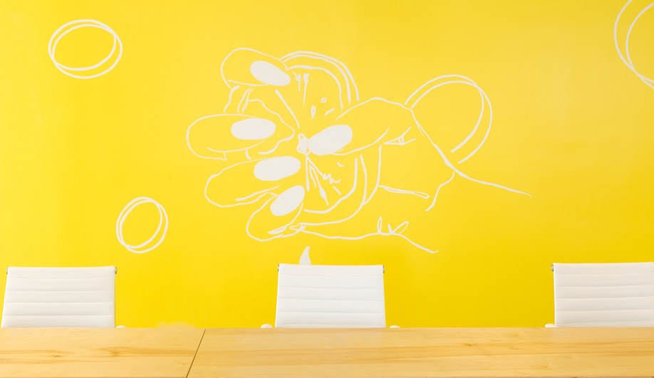 Make Lemonade, Toronto's coworking space for women, features bright pops of yellow.