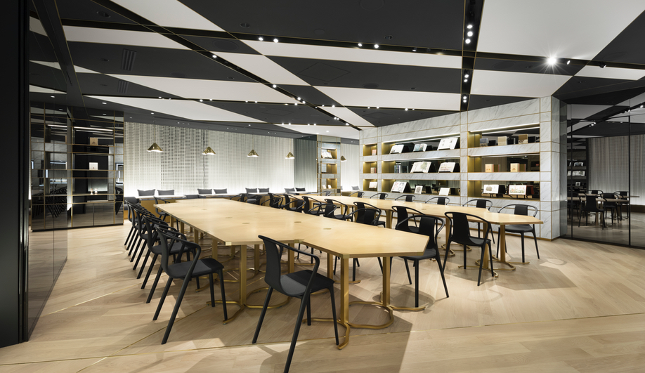 The event space and cafe on the fourth floor of the Nendo redesign of the Shiseido flagship.