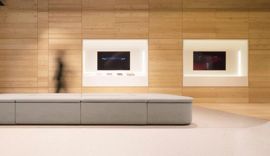 Schmidt Hammer Lassen's Nio House has a custom-made fabric bench.