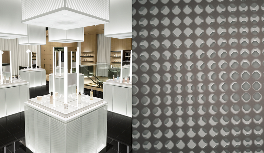 The woven patterns in the Nendo redesign of the Shiseido flagship.