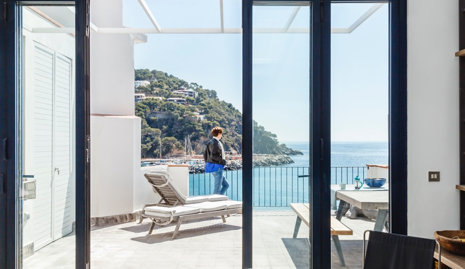 Es Garbi, Nook Architects' Catalonian beach house restoration, has sweeping views of the Mediterranean.
