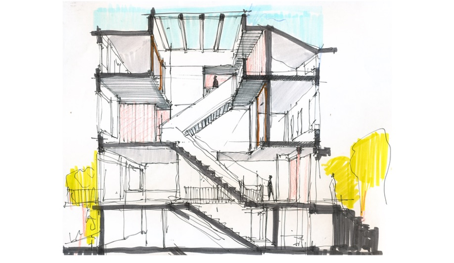 The initial drawings for L/and/A's Switchback House, which transformed a row house with a set of switchback stairs.