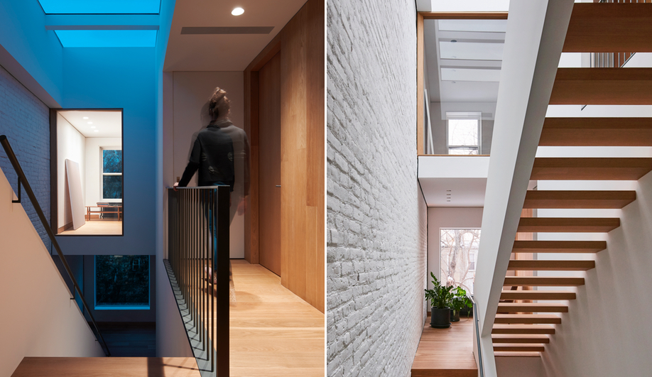 The interior-facing windows of L/and/A's Switchback House, which transformed a row house with a set of switchback stairs.