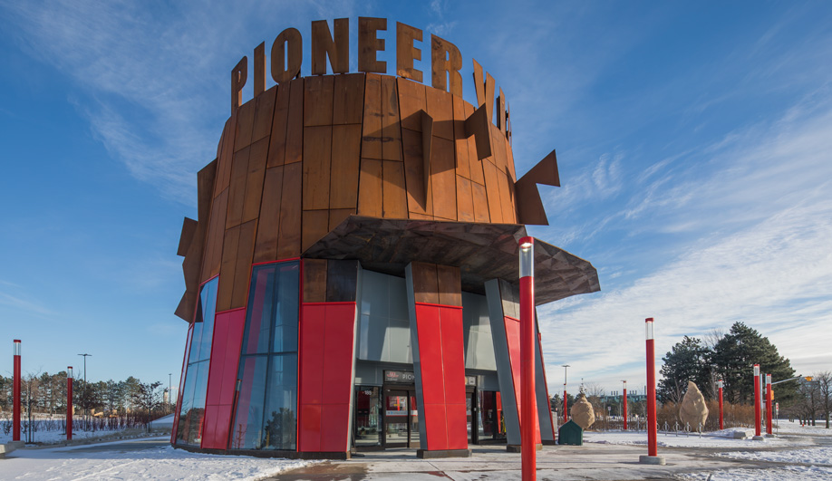 Pioneer Village Station, designed by Will Alsop, features prominent corten fins.
