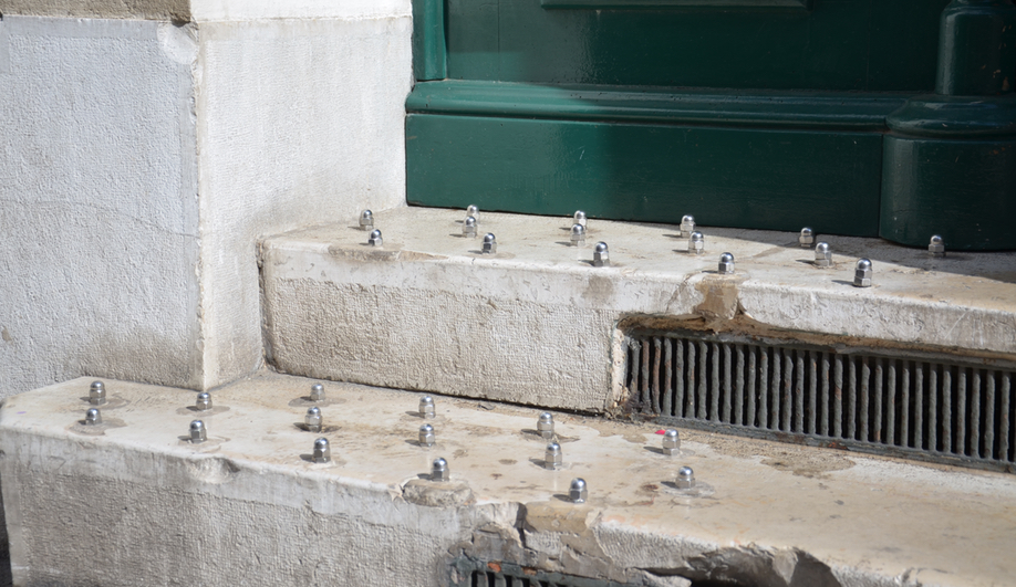 Selena Savic's Unpleasant Design explores hostile architecture, like these anti-homeless studs found in Marseilles, France.