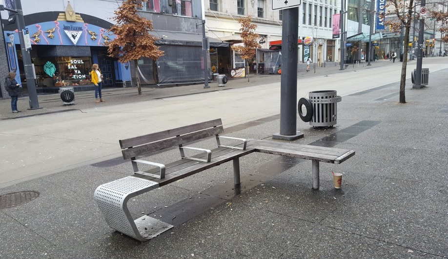 Selena Savic's Unpleasant Design explores hostile architecture, like these partitioned benches from Vancouver.