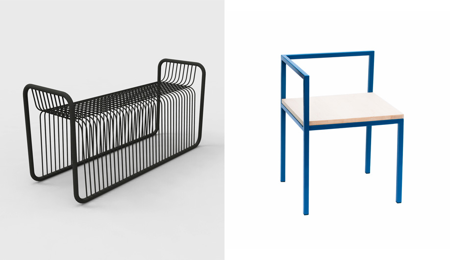 Geoffrey Lilge's Div.12: left, a bent-metal bench by Lukas Peet; right, the Homa Collection by Rainville-Sangaré