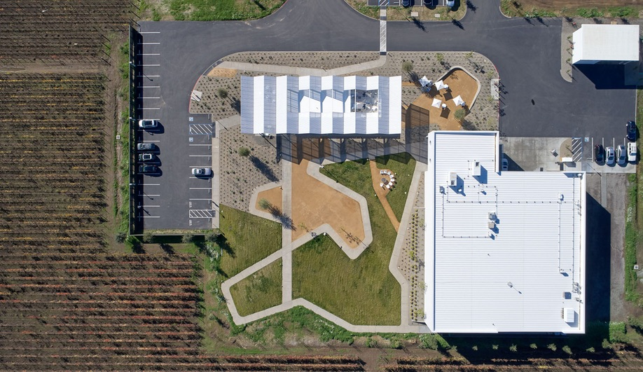An overhead view of Ashes + Diamonds winery.